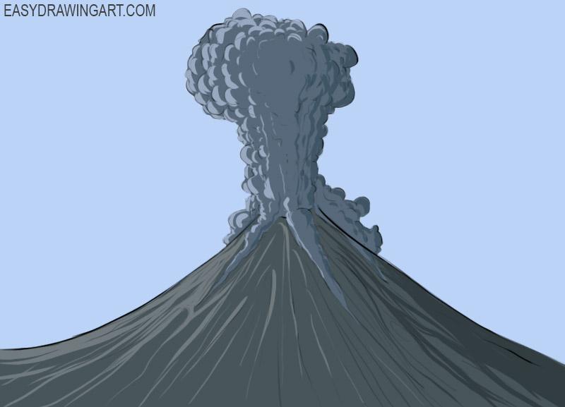 Volcano Coloring Page easy