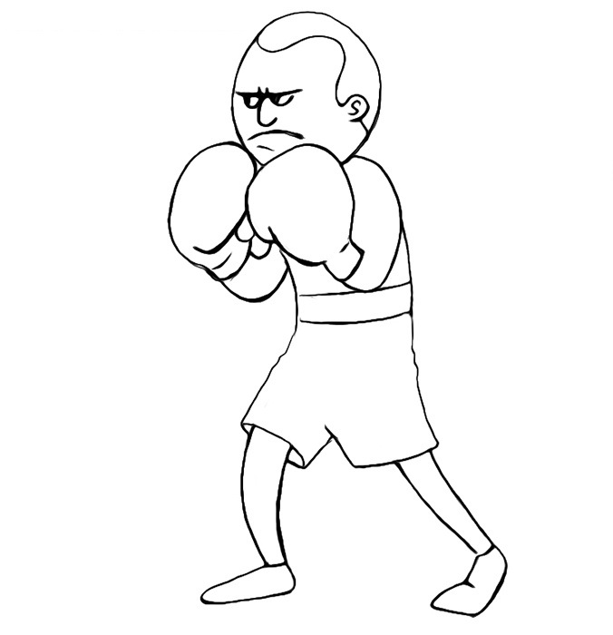 Easy Boxer Coloring Pages