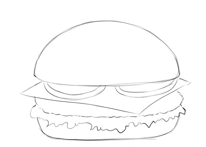 Easy Burger Coloring Pages