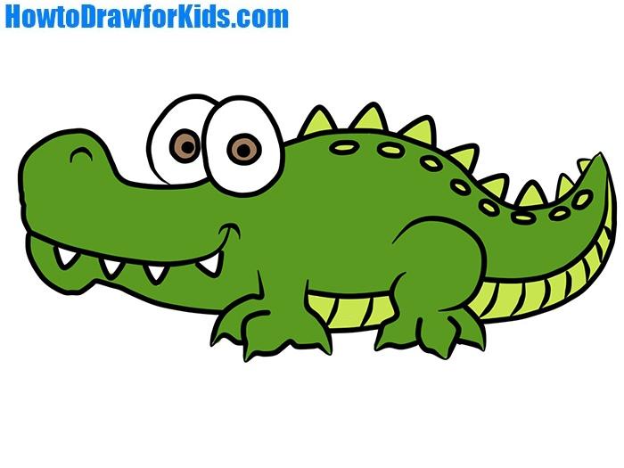 Easy Crocodile Coloring Page