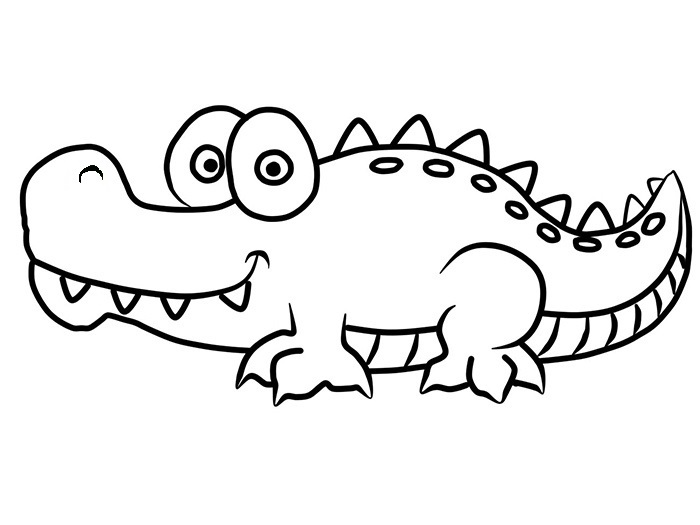 Easy Crocodile Coloring Pages
