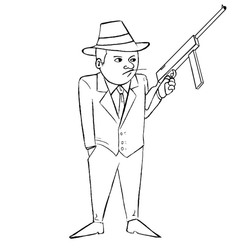 Easy Gangster Coloring Pages