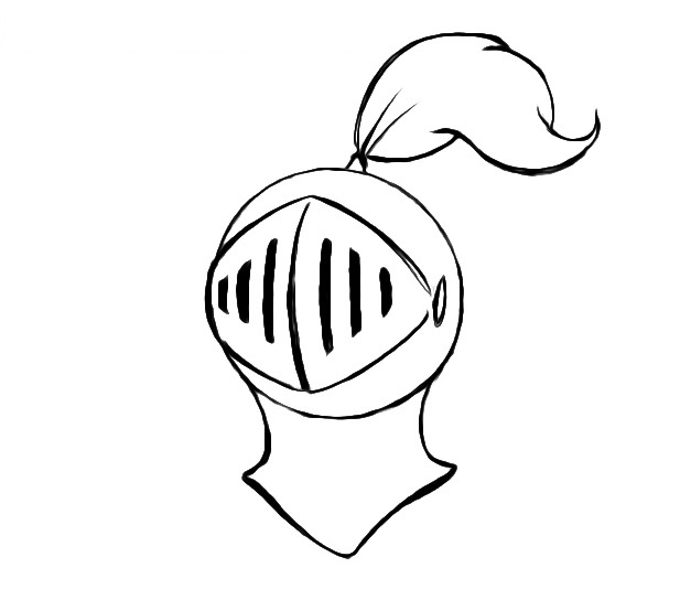 Easy Knight Helmet Coloring Pages