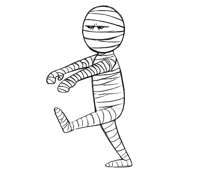 Easy Mummy Coloring Pages