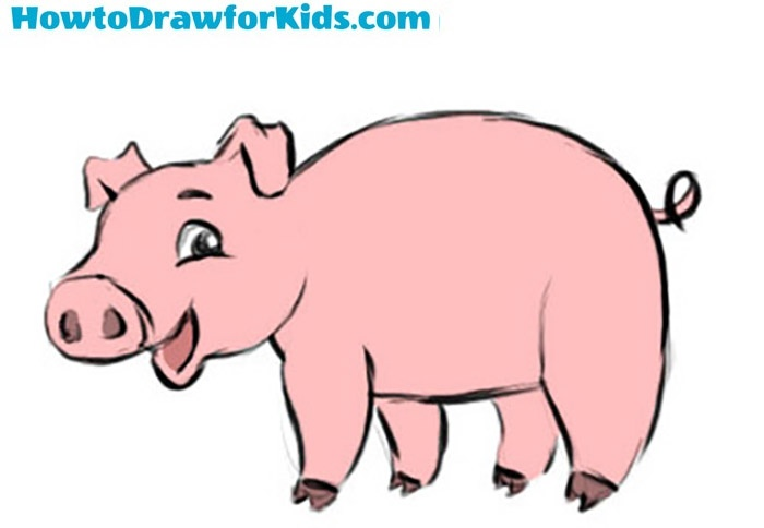 Easy Pig Coloring Page