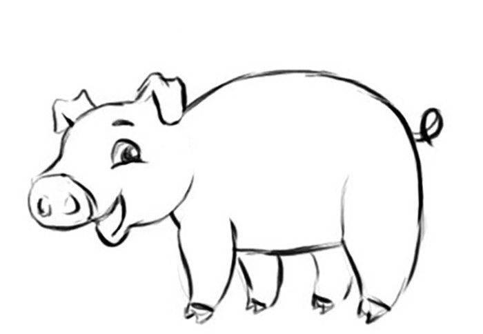 Easy Pig Coloring Pages