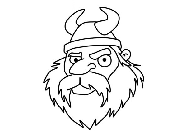 Easy Viking Face Coloring Pages