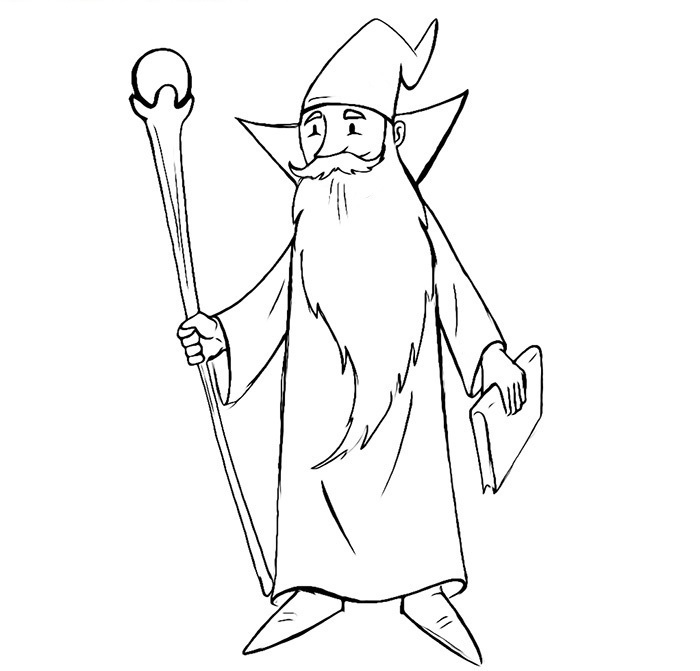 Easy Wizard Coloring Pages
