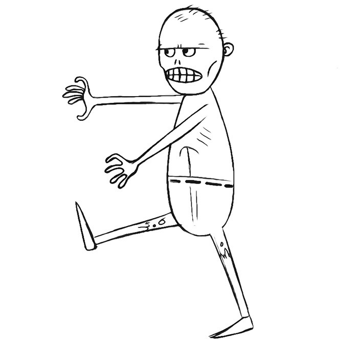 Easy Zombie Coloring Page