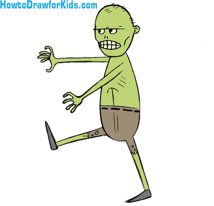 Easy Zombie Coloring Pages