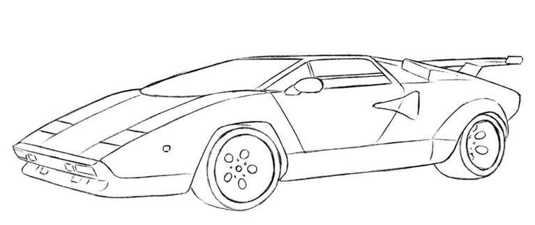 Lamborghini Countach Coloring Page easy