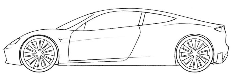 Tesla Roadster Coloring Page