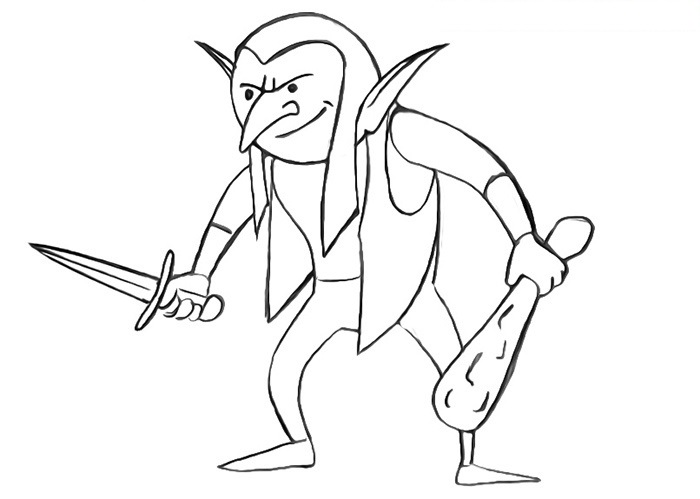 easy goblin coloring pages