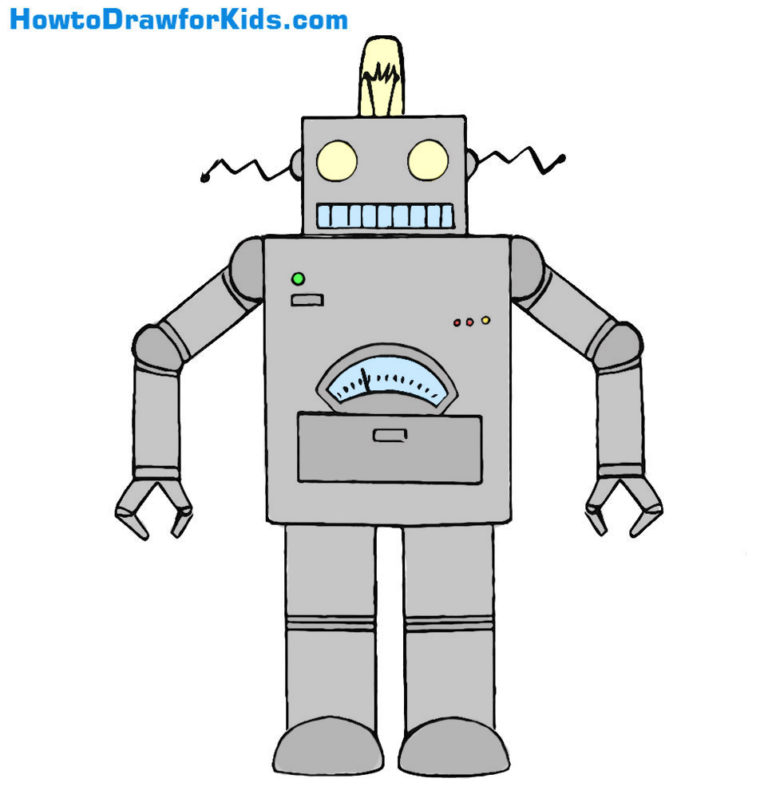 easy robot coloring page