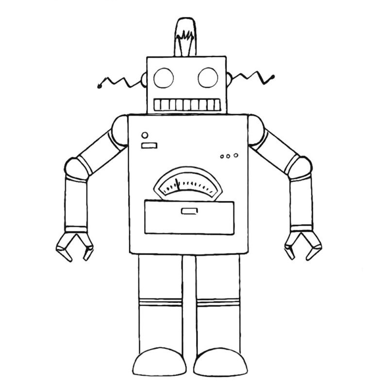 easy robot coloring pages