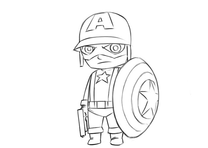 Easy Captain America Coloring Pages