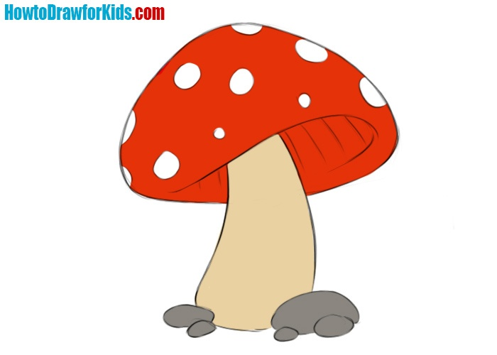 Easy Mushroom Coloring Page