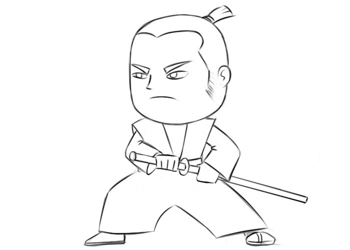 Easy Samurai Coloring Pages