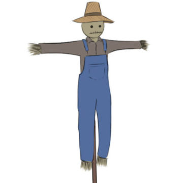 Scarecrow Coloring Page easy