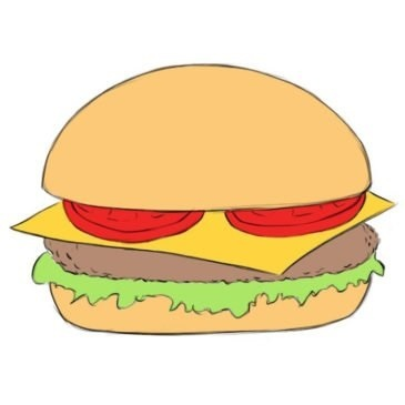 Easy Burger Coloring Page