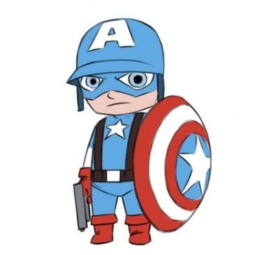Easy Captain America Coloring Page
