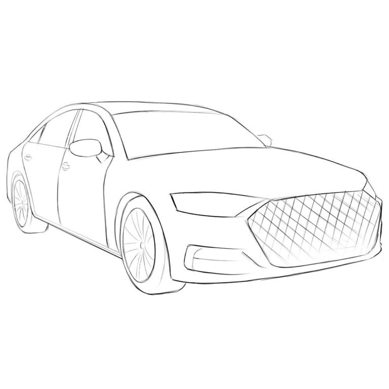 Car in Perspective Coloring Page