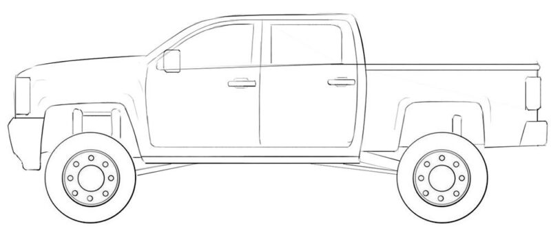 lifted truck coloring page